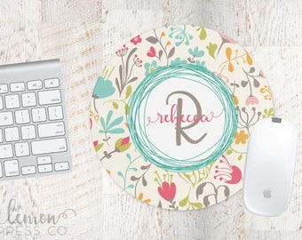 Colorful Floral Mouse Pad, Computer Mouse Pad, Monogram Office Supplies, Monogram Mouse Pad, Personalized Mouse Pad, Custom Mouse Pad LPM34