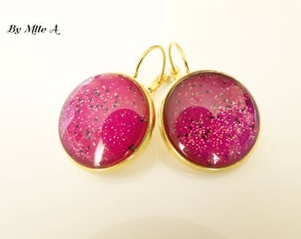 Lacquered cabochons fushia with glitter earrings