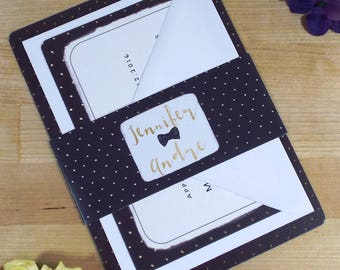 Polka Dots Gold Wedding Invitation - Sample