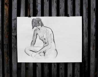 "Original Act of drawing ""Girl"" nude art / Woody"