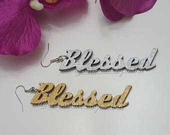 BLESSED Statement Earrings