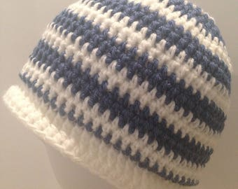 Crochet Handmade Womens New Hat Blue White One Size