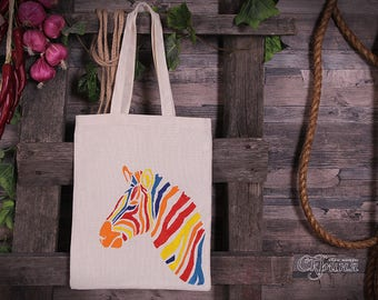 "Ecobag (Tote bag) ""Rainbow zebra""."