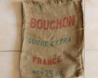 burlap bag - sugar extra france - vintage - industrial - decoration