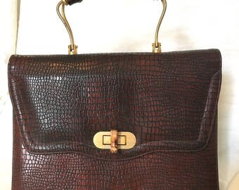 Vintage Andrew Geller Hand Stamped Leather Handbag