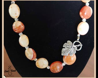 Necklace with beautiful orange agate beads & ornate tibetan clasp