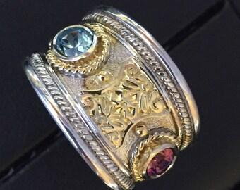 18K .925 Byzantine Ring Tapered