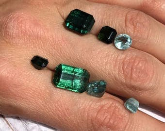Green and Blue Tourmaline Gem Lot (faceted)
