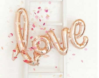 "LOVE Script Balloon Rose Gold 40"" Wedding Gold Champagne as seen on Pinterest"