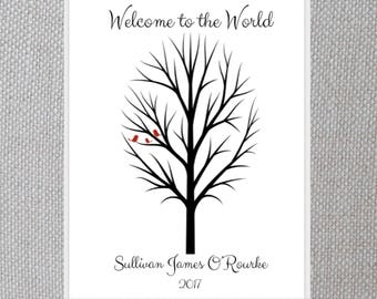 Personalized Baby Shower GUEST BOOK Fingerprint Sign - Tree of Life - Welcome - Sprinkle - Decorations - Wall Art - Print - Nursery Keepsake