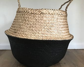 Large Black Dipped Seagrass Basket, Belly Basket, Laundry Baskets, Storage Baskets