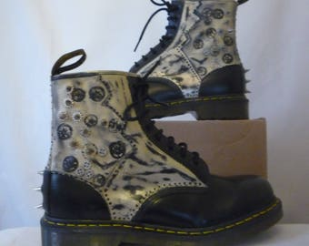 DR Martens UK size 8 customised, Steampunk, Punk, Goth very trendy