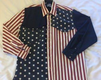 1990s Men's Vintage American Flag Shirt