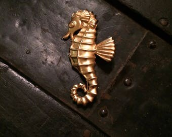 Vintage Gold Colored Seahorse Brooch