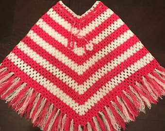 crochet poncho, handmade poncho, kids poncho pink and white (4-6 years old)