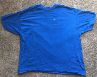 Vintage 90s Blue Champion Spell Out T-Shirt