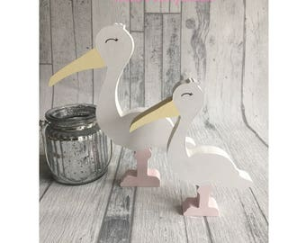 Personalised Wooden Storks Set of 2