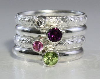 4 Gemstones, Birthstone Stacking Rings by Sheri's Designs, 4 Stacking Family & Mother's Rings, Gemstones, Sterling Silver, Custom made