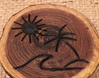 Wood Burned Beach Magnet