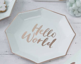 Mint & Rose Gold Paper Plates, Hello World Baby Shower, 8 Pack