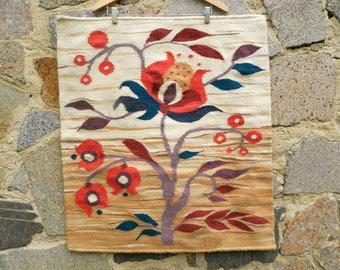 Carpet Of Wool Housewarming Gift Tapestry Boho White Beige Hippie Tapestry  Bohemian Rug Natural Wool Weave