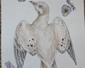 Dove with flowers original watercolor