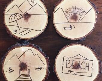 Wood-Burned Lake Coasters