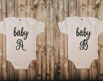 Baby A Baby B Twin Set - Twin Baby Bodysuit Set (2 Pieces) - Twin Babies - Twin Outfits - Twin Bodysuits Set - Newborn Twin Clothing - Twins