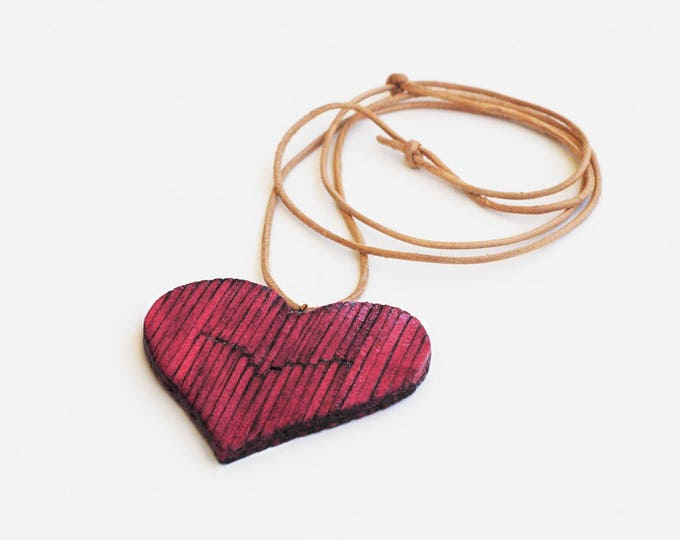 Handmade Pink Heart Necklace Jewelry by Matchsticks
