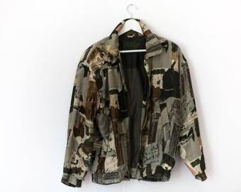 Vintage Silk Print Jacket Fuda International