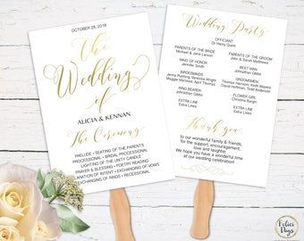 Gold Wedding Program Fan Editable Template, DIY Wedding Program, Wedding Program Printable, Ceremony Printable, PDF Instant Download GW180