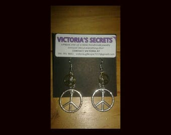 Peace Sign Earrings made with Surgical Steel Earring Hooks -Hand Made -Love -Happy