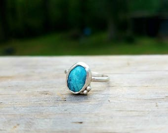Sterling Silver Turquoise Pinky Ring Size 4