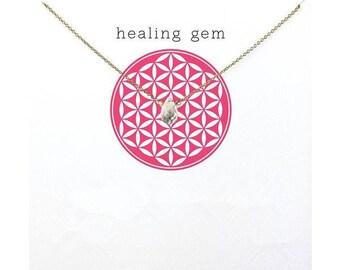 Handmade Silver Plated Healing Briolette Crystal Gem Necklace