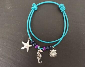 Seaside blue leather bracelet