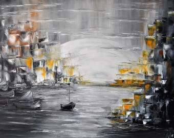 In the moonlight. Original oil painting on canvas, City, Sea painting, Boats and sailboats, impasto art on canvas by Alekseenko 30x20 inches
