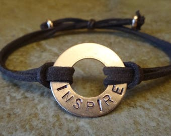INSPIRE copper washer word bracelet - high quality, hand-stamped, convenient adjustable and durable faux suede wristband - great gift