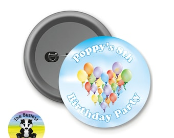 Custom Birthday Badges, Birthday Party Badges, Birthday Party Favors, Custom Button Badges, Personalised Badges, Charity, School Badges