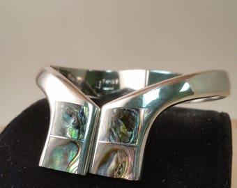Abolone Shell and Silver 950 Cuff Bracelet TN-52