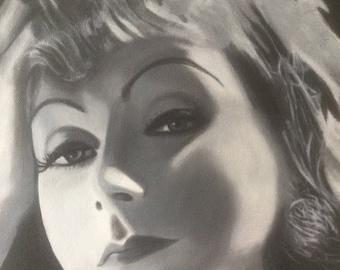 Greta Garbo Black and white Oil Painting 3