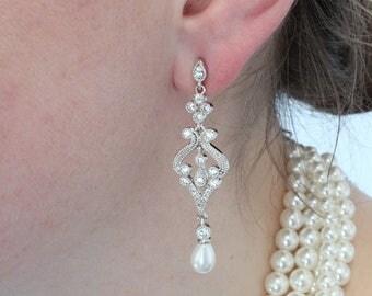 Art Deco Earrings for Brides, Rhinestone Earrings for Bridesmaids. Bridal jewelry, Drop earrings 2801RGP-S