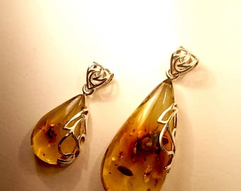 Natural Caribbean Green Amber Puffed Drop Pendants with Sterling Silver 925 With Inclusions