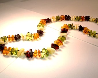 Mixed Natural Baltic and Caribbean Amber Necklace Summer Collection