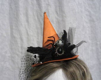 "Orange Halloween Witch's Hat With Spider, 5"" Mini Fascinator"