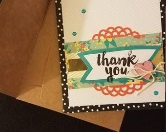 "Hand made ""Thank You"" stamped card"