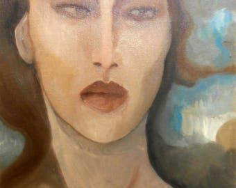 Oriental woman oil painting
