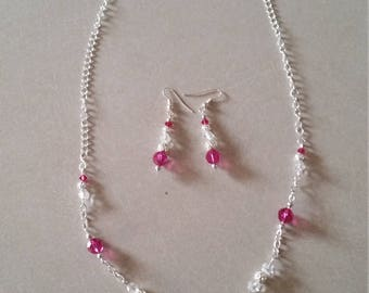 Pink Chain Necklace and earrings