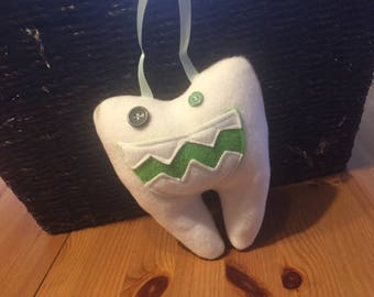 Tooth Fairy Pillow with green mouth and loop