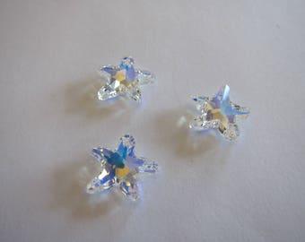 16mm Swarovski Crystal 6721 Starfish Pendant in Crystal AB 3 pieces