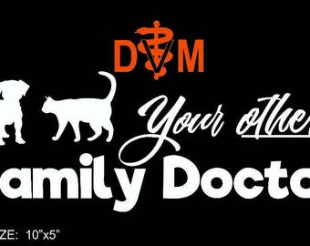 Veterinary Small Animal Vinyl Decal with DVM - color option